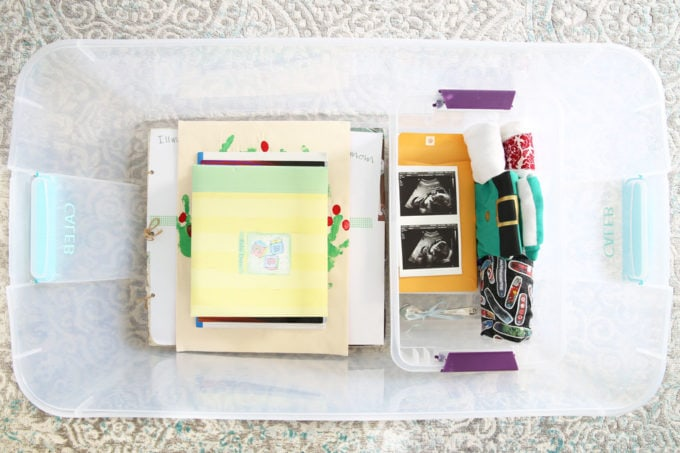 Child's Mementos Stored in an Organized Plastic Bin