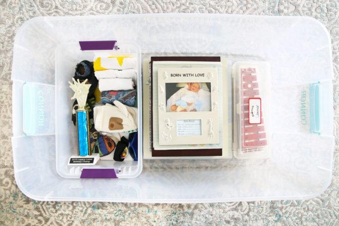 Children's Sentimental Items in an Organized Bin