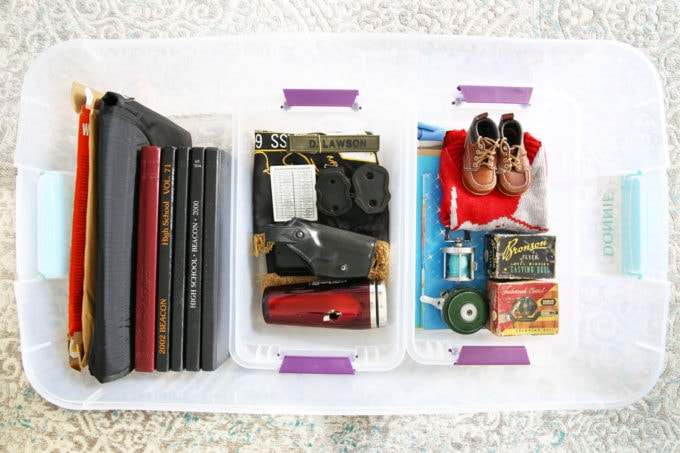 Bin of Organized Sentimental Items, Yearbooks, Childhood Mementos