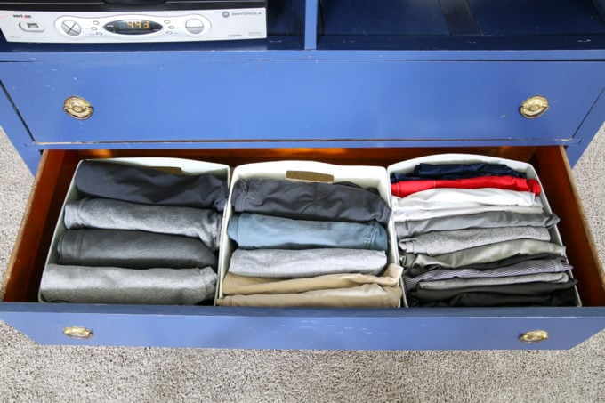 Organized Men's Shorts Drawer, KonMari Method