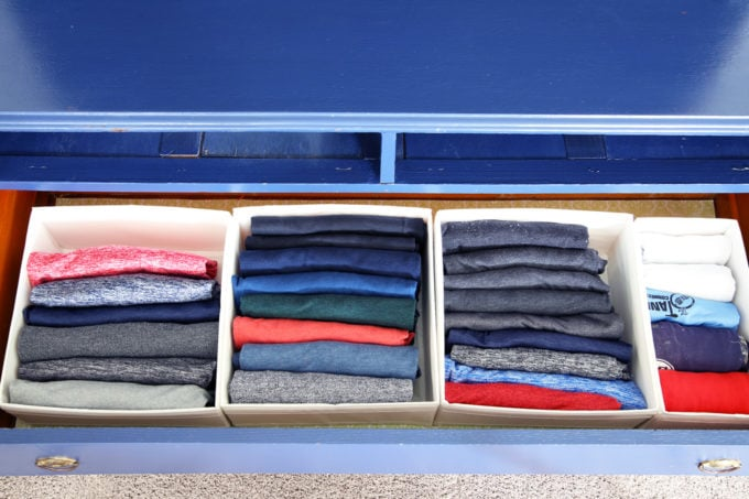 Men's T-Shirts Organized in IKEA SKUBB Boxes Using the KonMari Method of Folding