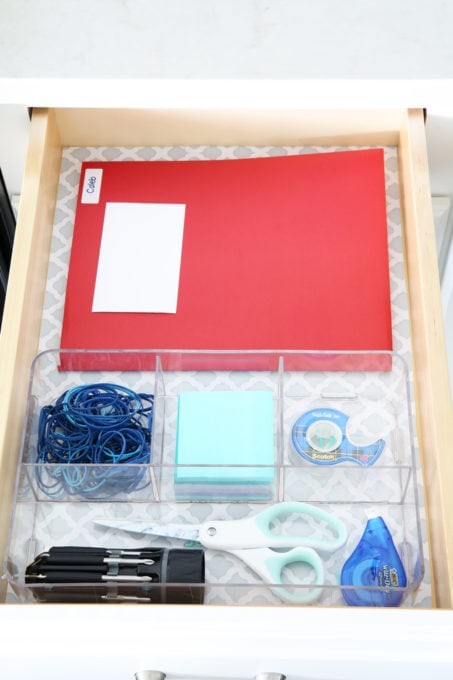 Organized Junk Drawer with Office Supplies