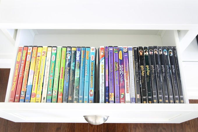 Organized DVDs in a Media Entertainment Unit