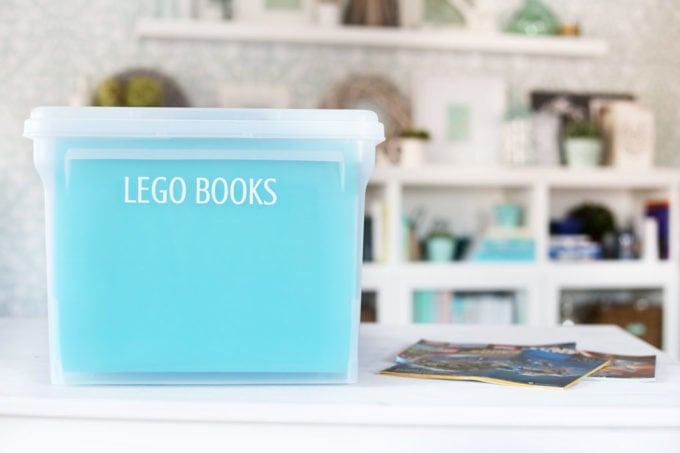 File Box for Organized LEGO Books, Labeled with a Silhouette Cameo and Adhesive Vinyl