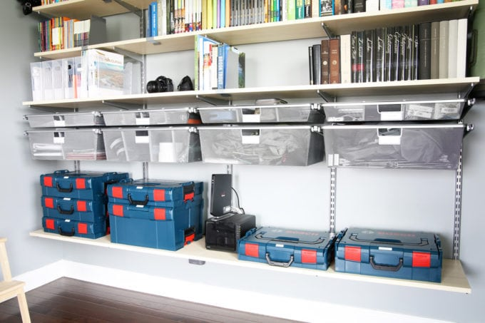 Organized Bosch L-Boxxes to Store Camera Equipment in a Home Office