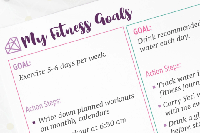 My Fitness Goals Goal Setting Printable