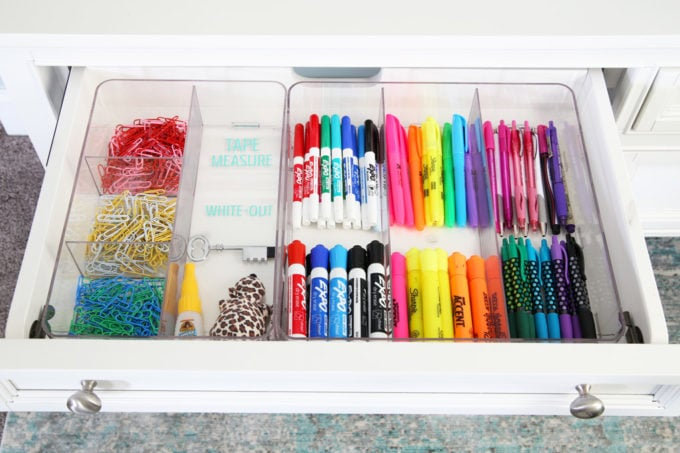 Organized Writing Utensils in a Labeled Office Drawer
