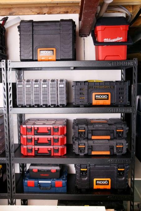 Ridgid Pro Tool Storage System on Gladiator Shelves in Basement Workshop