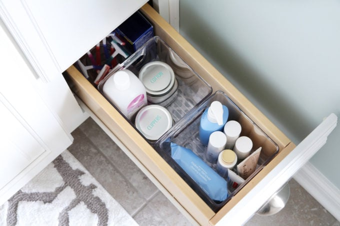 Narrow Organized Drawer In The Bathroom
