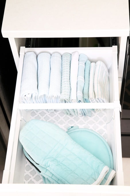 Organized Towels and Potholders in a Kitchen Drawer, Organized Textiles