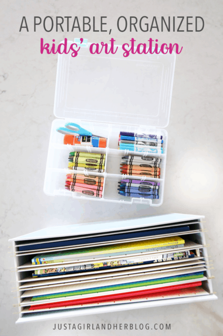 A Portable, Organized Kids' Art Station | This simple portable, organized kids' art station makes it easy for kids to be creative anywhere in the house! | #artstation #artsupplies #organizedkids #organization #organized #organizedwithkids