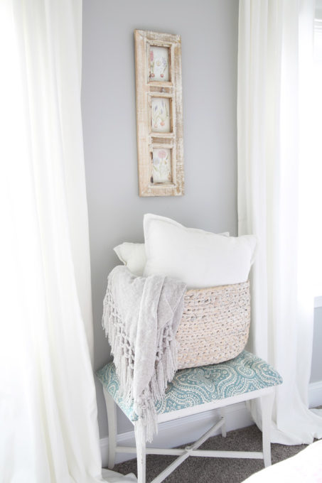 DIY Tufted Bench with Basket of Pillows and Blanket