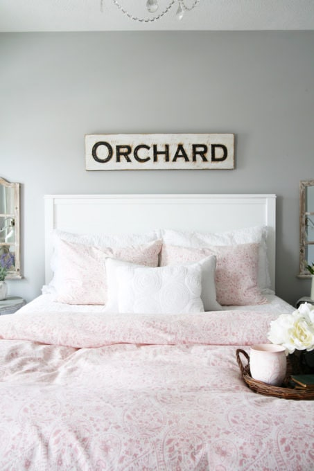 Cottage Style Guest Bedroom in Rose Pink, White, and Gray