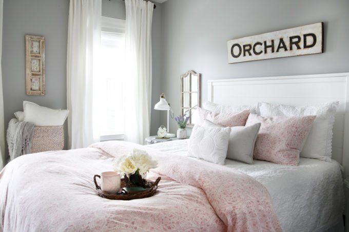 Cottage Style Guest Bedroom in Pink, White, and Gray