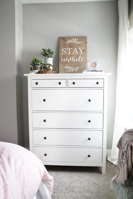 White IKEA HEMNES Dresser in a Cottage Style Guest Bedroom