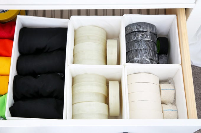 Hockey Spandex and Hockey Tape Organized in IKEA SKUBB Boxes