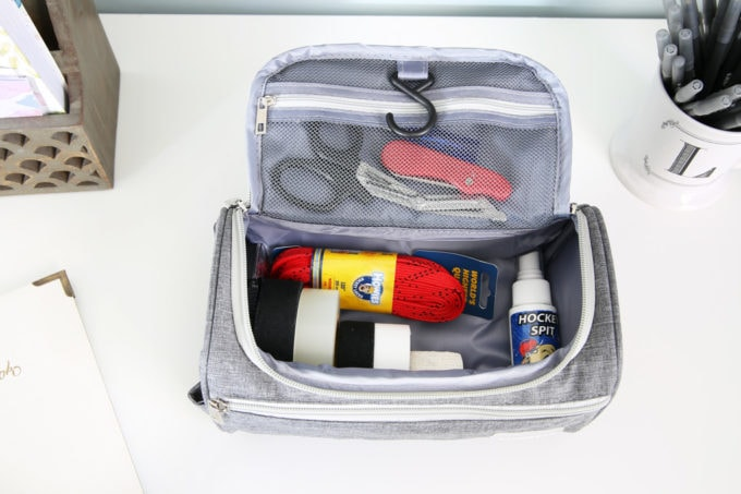 Toiletry Bag Used to Organized Hockey Tape and Accessories