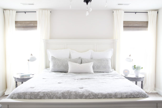 Master Bedroom with Gray Bedding and White Walls