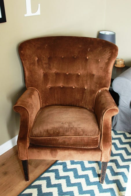 Brown Tufted Wingback Chair