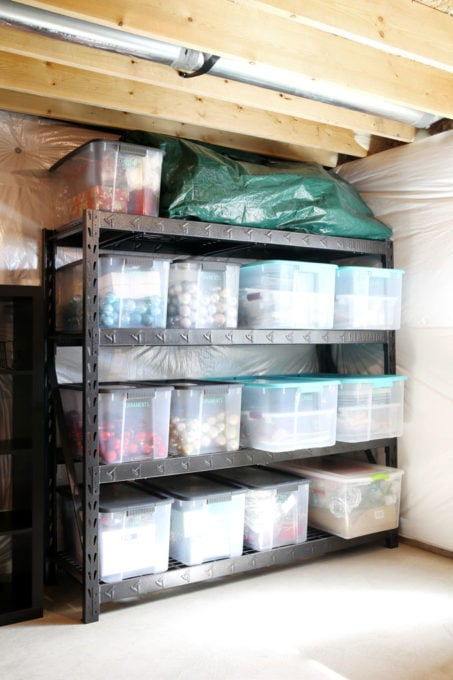 Holiday Decor Bins in an Organized Basement