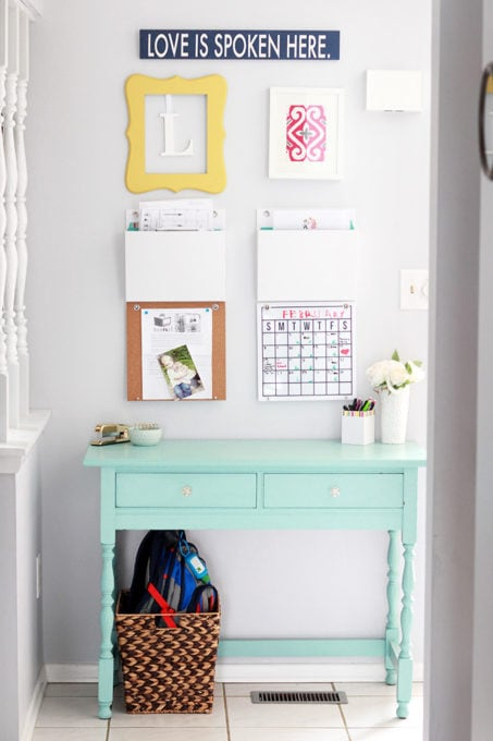 Aqua paint colors can be tough to sort through to find the perfect blend of blue and green for your space, so I'm sharing my 10 favorite aqua paint colors that will make any room feel soothing and serene! | #aqua #aquapaintcolors #aquapaint #mintpaint #mintpaintcolors #paintcolors #bestpaintcolors , Command Center Desk in Behr Marquee Aquifer