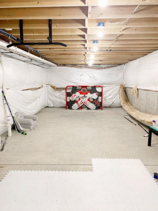 Basement Hockey Area Before Photo