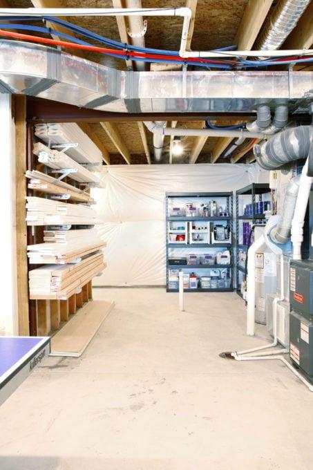 DIY Supplies in an Organized Basement