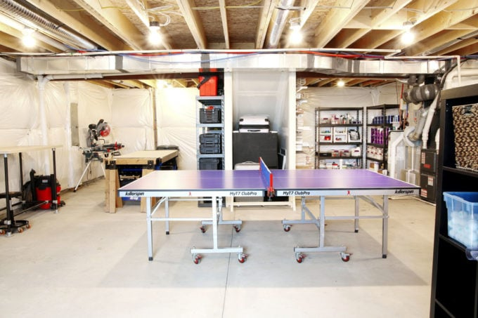 Ping Pong Table, Tools, and DIY Supplies in an Organized Basement