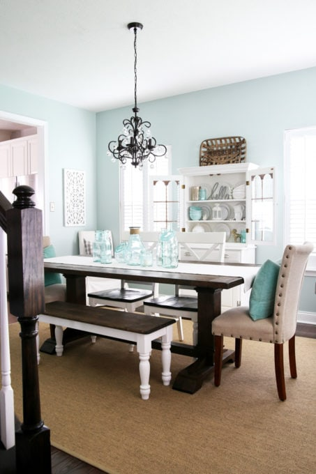 Dining Room Painted Sherwin Williams Rainwashed with a Farmhouse Dining Table and a White China Cabinet