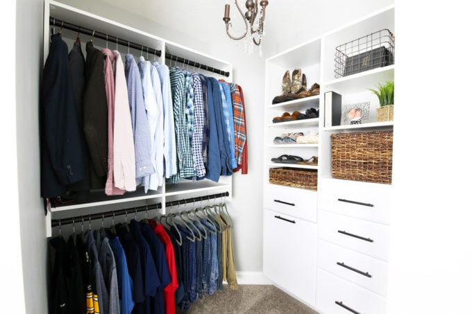 Organized Master Closet with EasyClosets Closet System