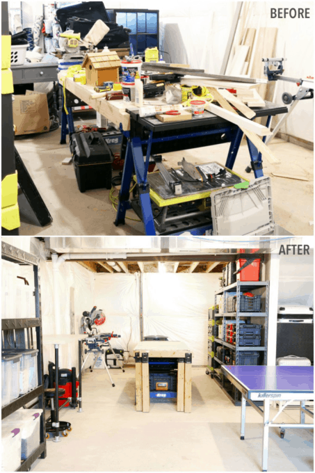 Organized Basement Workshop Before and After