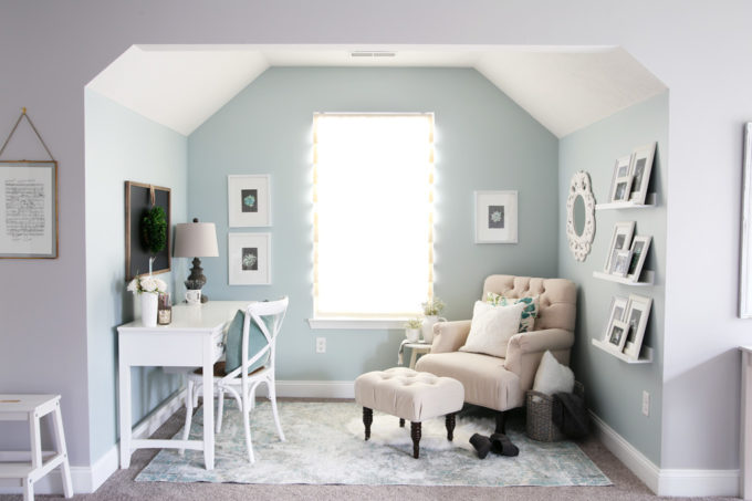 Aqua paint colors can be tough to sort through to find the perfect blend of blue and green for your space, so I'm sharing my 10 favorite aqua paint colors that will make any room feel soothing and serene! | #aqua #aquapaintcolors #aquapaint #mintpaint #mintpaintcolors #paintcolors #bestpaintcolors, Home Office Nook in Sherwin Williams Rainwashed