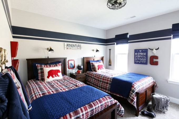 Red and Blue Shared Boys' Bedroom with Plaid Bedding