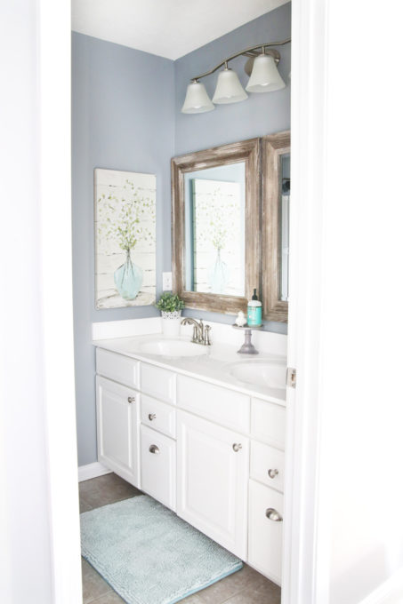Guest Bathroom Vanity with Wood Framed Mirrors