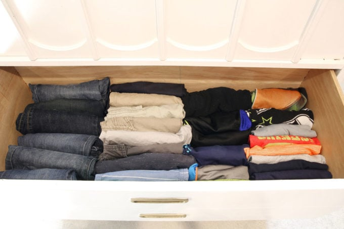 Drawer of Hand-Me-Down Clothing File Folded with the KonMari Method
