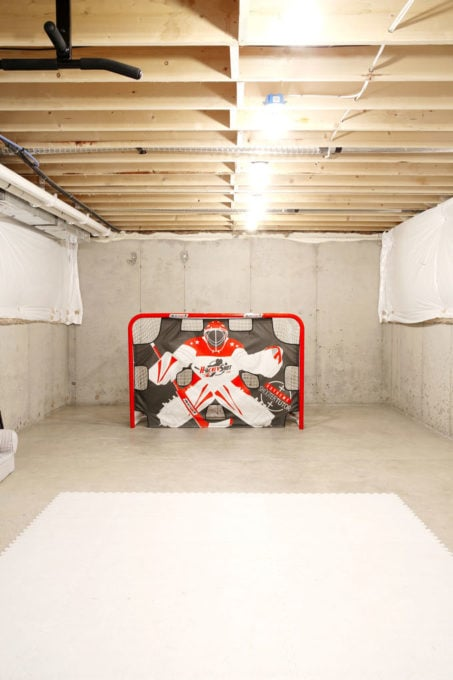 Hockey Practice Area in an Unfinished Basement