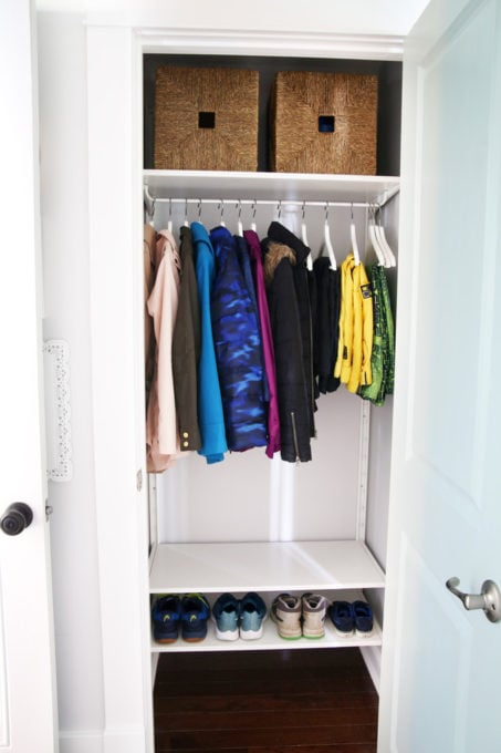 Organized Entry Closet in a Mudroom
