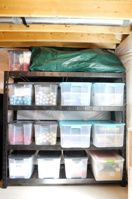 Bins of Sentimental Items and Christmas Bins, Basement Organization