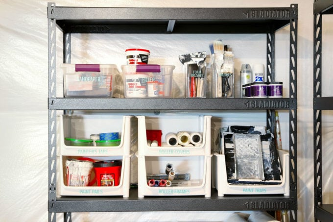 Painting Supplies in an Organized Basement