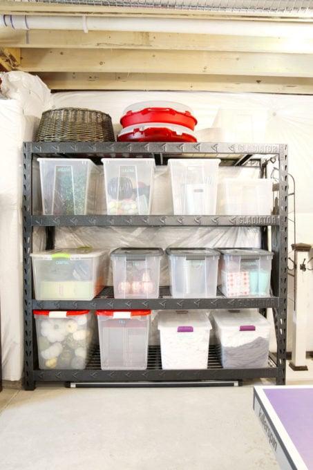 Bins of Seasonal Decor in an Organized Basement