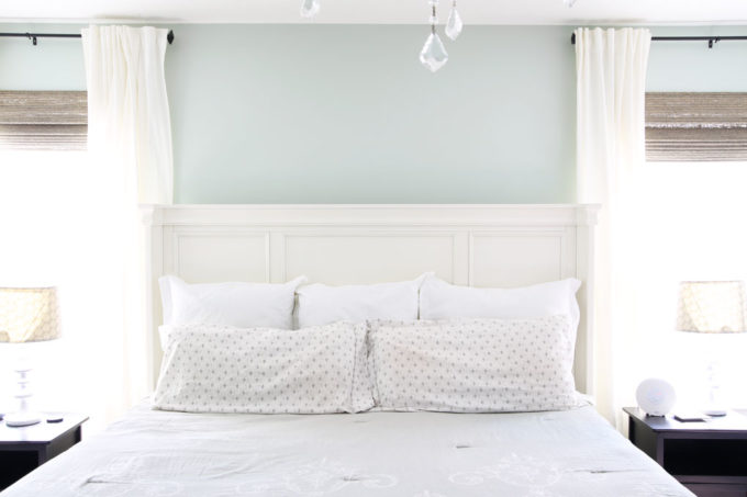 Aqua paint colors can be tough to sort through to find the perfect blend of blue and green for your space, so I'm sharing my 10 favorite aqua paint colors that will make any room feel soothing and serene! | #aqua #aquapaintcolors #aquapaint #mintpaint #mintpaintcolors #paintcolors #bestpaintcolors , Sherwin Williams Sea Salt in a Master Bedroom