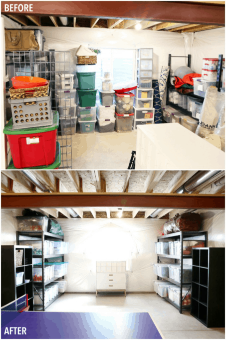 Organized Basement Storage Before and After