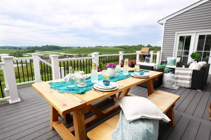 Outdoor Farmhouse Table and Benches on a Deck