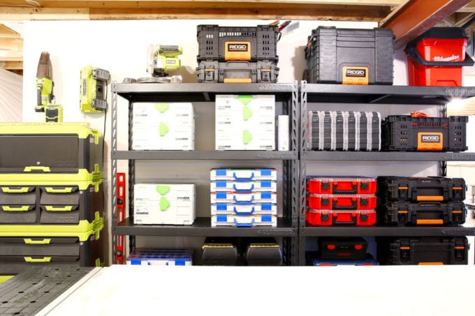 Organized Toolboxes on Gladiator Shelves in an Organized Basement