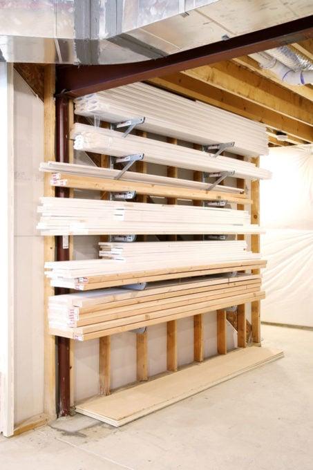 Organized Wood Trim Pieces, Basement Organization