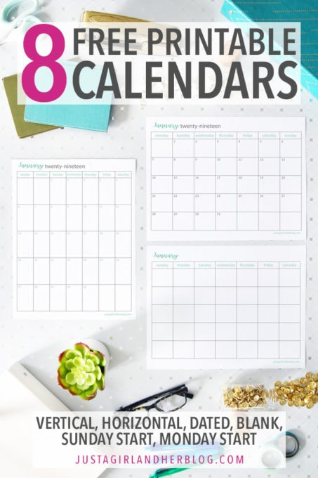 8 Free Printable Calendars with Vertical, Horizontal, Dated, Undated, Sunday Start and Monday Start Options