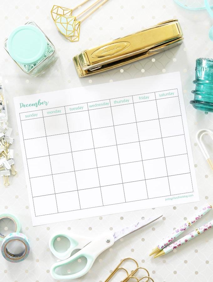 Free December Printable Calendar