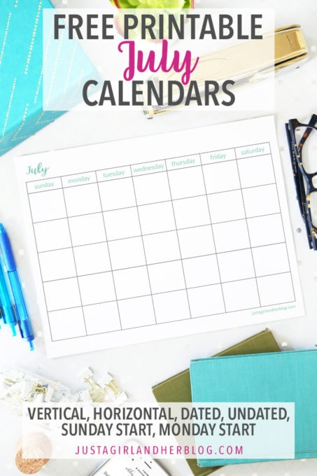 graphic about Free Printable July Calendar identified as July 2019 Calendar Really (and Cost-free!) July Printable Calendar