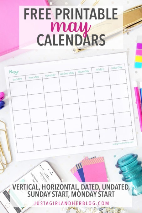 Free Printable May Calendar Pages