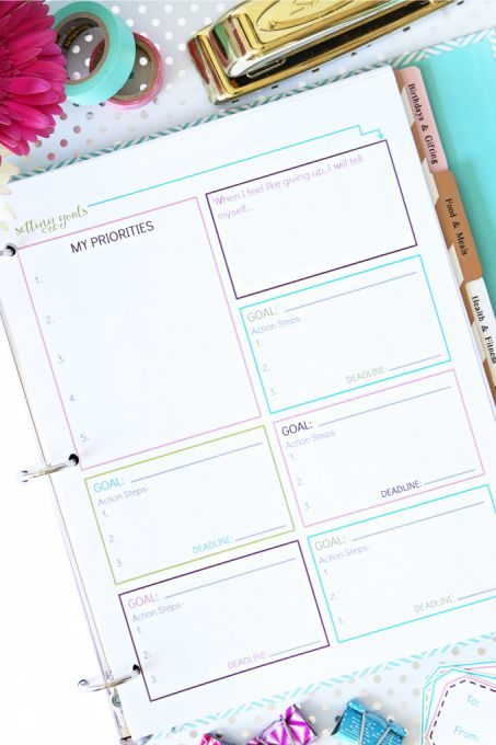Free Printable for Setting Goals by Priority
